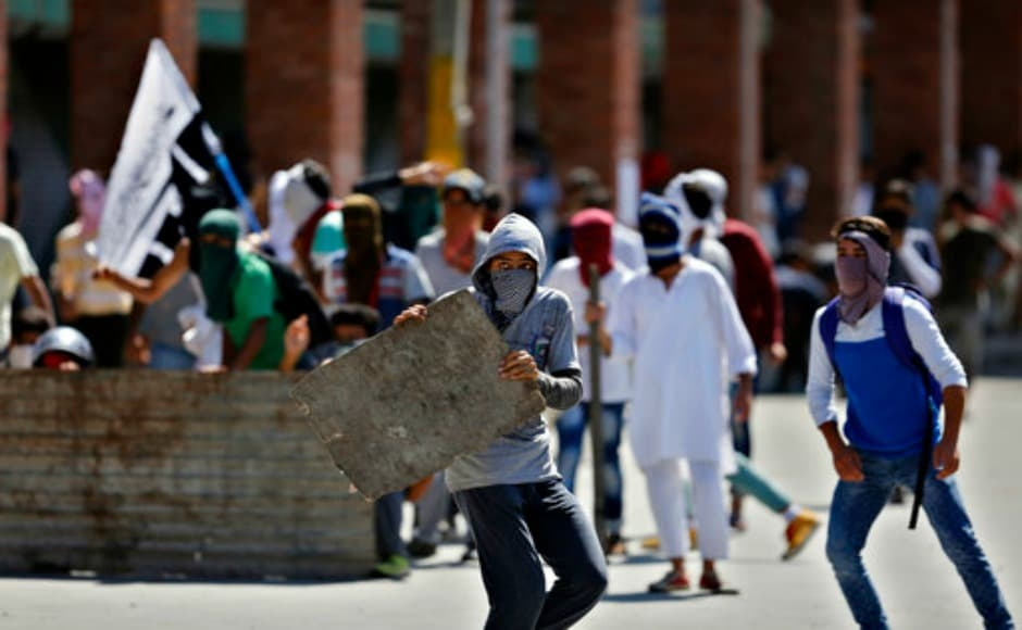 The clash between the protesters and armed forces in Nowhatta area of Downtown Srinagar took place after the weekly congregational prayers at Jamia Masjid. AP