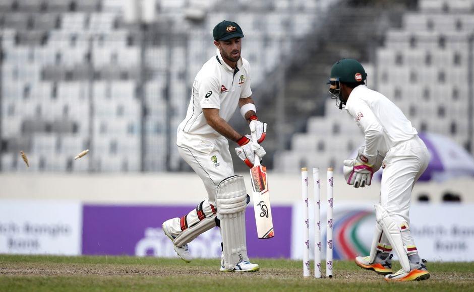 Glenn Maxwell posed a threat until he was stumped by Mushfiqur Rahim off Shakib Al Hasan's bowling. AP