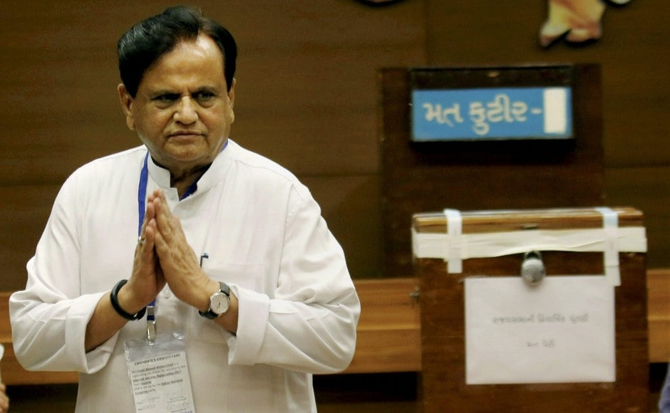 Congress leader Ahmed Patel after casting vote for the Rajya Sabha election at the Secretariat in Gandhinagar on Tuesday. Patel clinched victory in a close battle, the results of which were declared late on Tuesday night. PTI