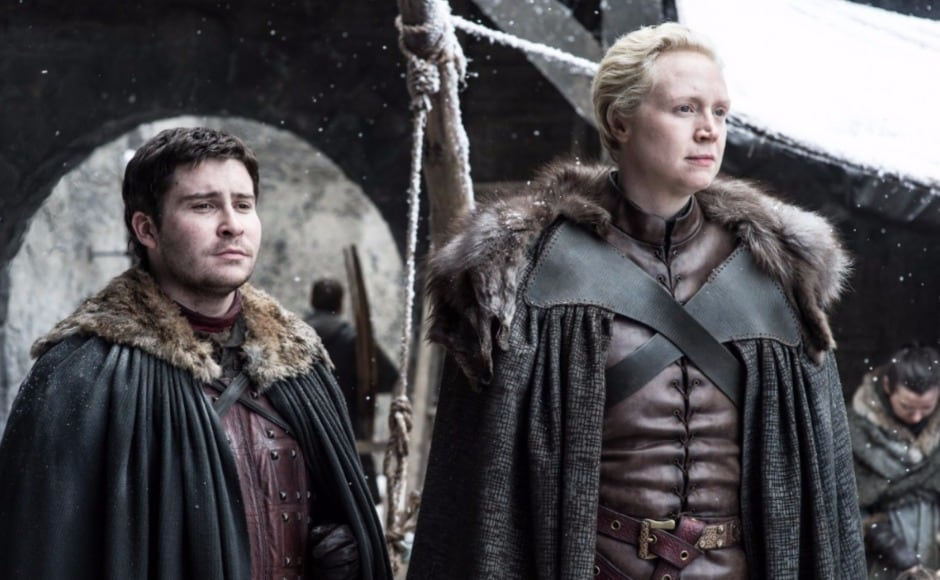 Also at Winterfell, Brienne and Pod seem like they're about to set off on a journey. Image courtesy HBO