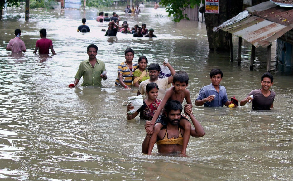 The Assam state administration has set up 315 relief camps in the state where 1.68 lakh people are taking shelter. Heavy rains snapped communications between upper and lower Assam after flood waters started flowing over National Highway 37. PTI