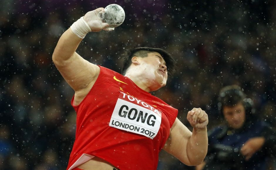 Gong Lijiao took the lead on her penultimate throw and won with a toss of 19.94 metres. AP