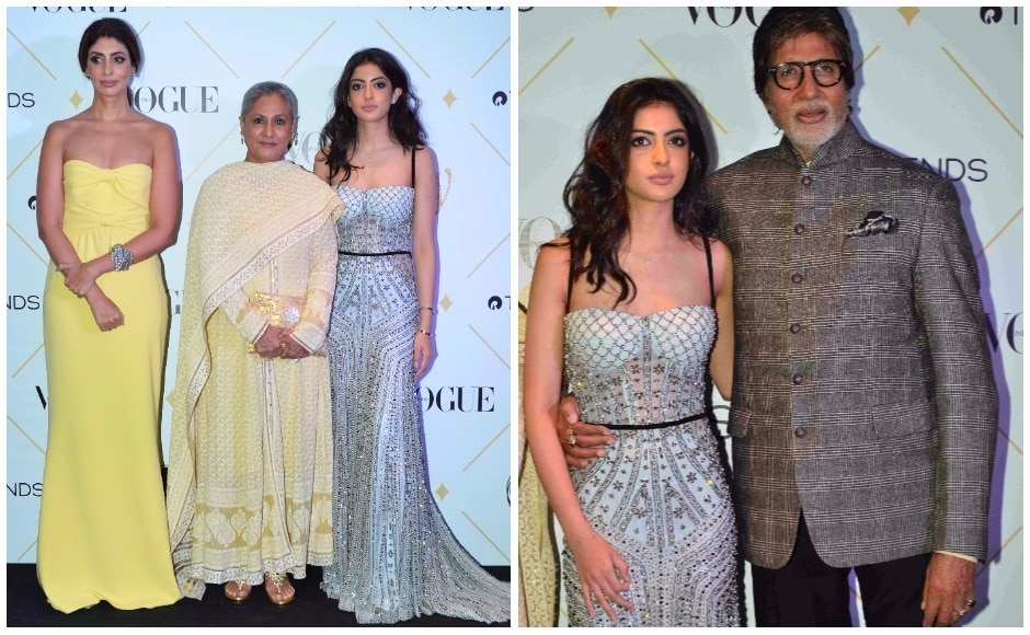 The stars of Vogue's August cover — Shweta Bachchan Nanda, Jaya Bachchan and Navya Naveli Nanda were seen posing for shutterbugs on the red carpet. The three generations of Bachchan-Nanda women were also named winners in the 'Ageless Beauty' category. They were joined on the red carpet by Amitabh Bachchan.