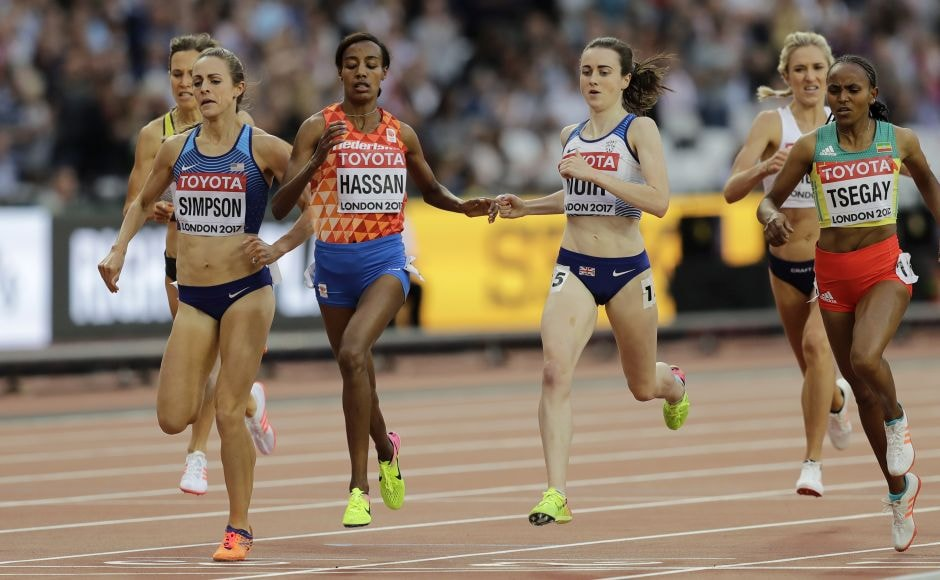 Sifan Hassan, the world indoor champion, won a big scramble to the line to win the second heat, and Jenny Simpson of the United States was boxed in before she slowed in the final straight and veered out to dash for the line in second place. AP