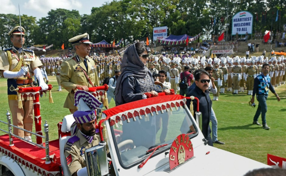 After unfurling the national flag, Mufti inspected the guard of honour at Bakhshi Stadium in Srinagar. She also welcomes Prime Minister Narendra Modi's remarks on Kashmir, saying she has maintained that dialogue can alone solve the problems in Kashmir. PTI