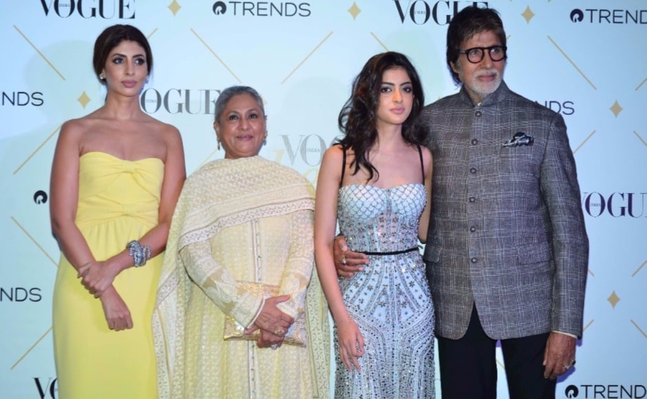 The Bachchan family takes a photocall on the Vogue Beauty Awards 2017 red carpet.