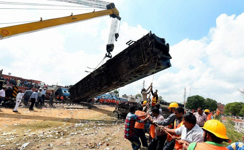 Building on overnight search and rescue operations, the railways on Sunday deployed high-tech cranes and scores of workers to clear the tracks even as the sleepy town of Khatauli tried to come to terms with the tragedy. PTI