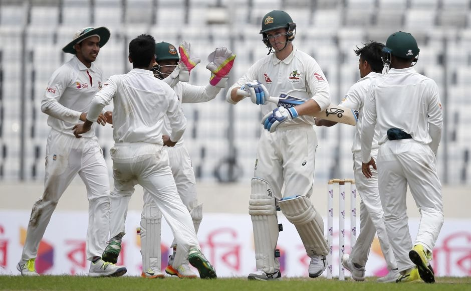 Matt Renshaw and Peter Handscomb resisted the Bangladesh spinners on a tricky wicket in a 69-run fifth-wicket stand and appeared to be settling in. But left-arm spinner Taijul Islam got a vital breakthrough with a ball that kept low and trapped Handscomb lbw. AP