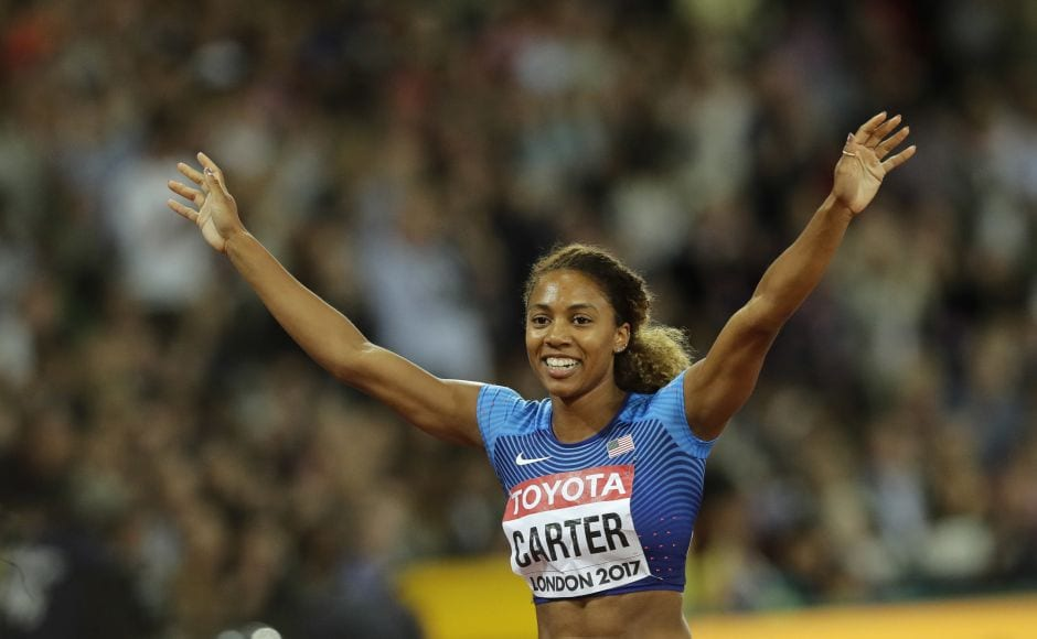Running in the outside lane, Kori Carter lead an American 1-2 in the 400-metre hurdles. Carter picked up speed after 100 meters and never looked back, finishing in 53.07 seconds, .43 seconds ahead of Muhammad. AP