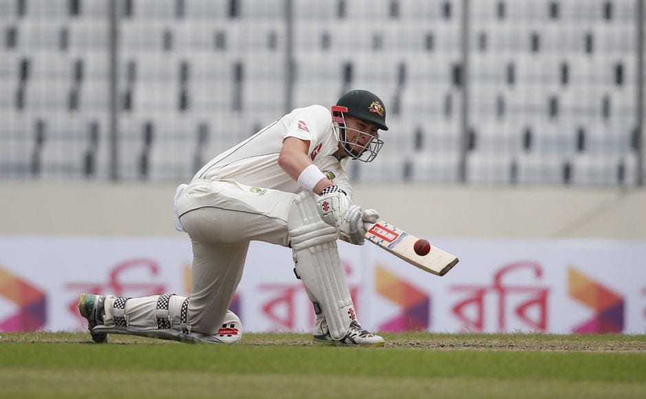Matt Renshaw survived almost two sessions, facing 94 balls for his 45 runs while Australia lost five wickets, until he edged to Soumya Sarkar at slip. AP