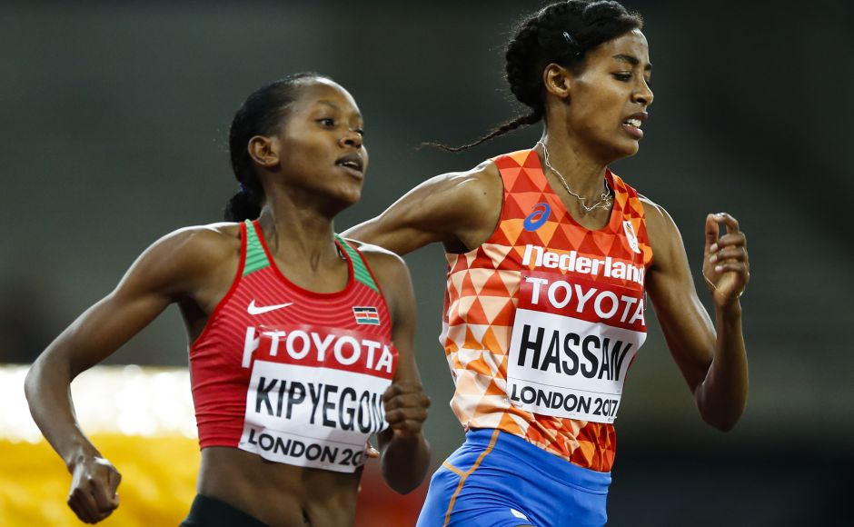 Netherlands' Sifan Hassan leads eventual winner Kenya's Faith Chepngetich Kipyegon during the final of the Women's 1500m. AP