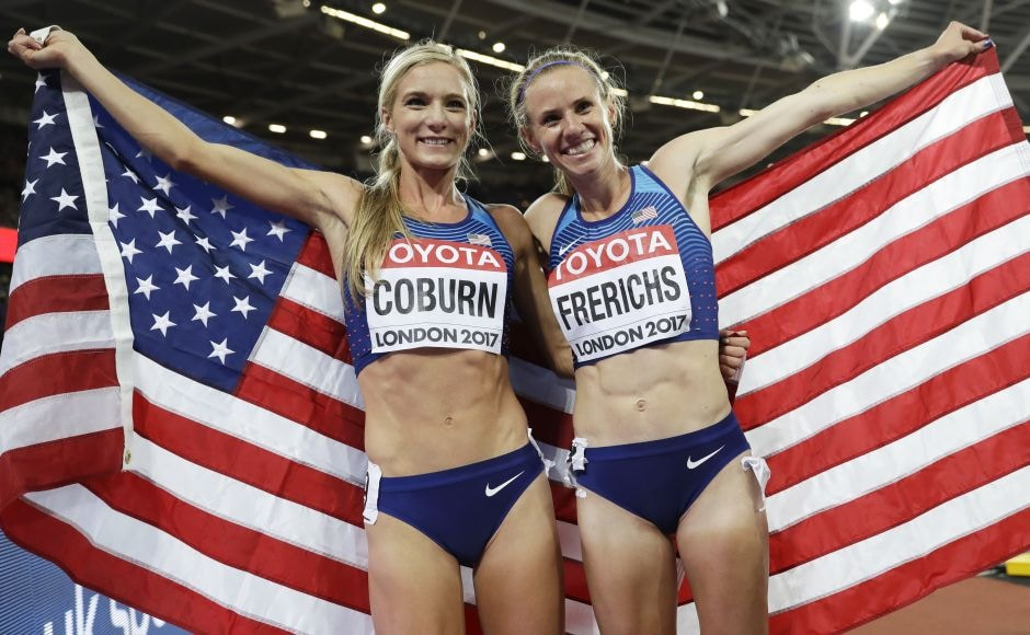 Emma Coburn led an unlikely 1-2 finish for the United States in the steeplechase. Courtney Frerichs took silver while defending champion Hyvin Jepkemoi of Kenya earned bronze. AP