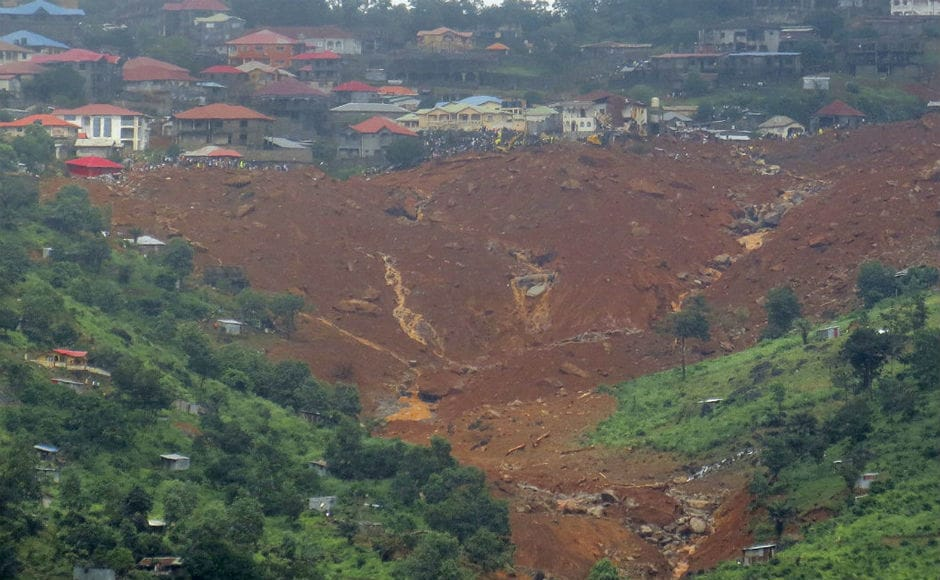 At least 400 people, including 60 children, were killed following the collapse of a hillside in the outskirts of Sierra Leone's capital Freetown, early on Monday morning. AP