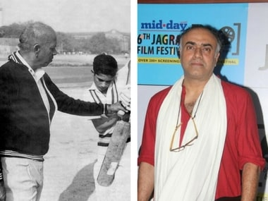 Sachin Tendulkar along with his coach Ramakant Achrekar (left); Rajit Kapur (right). Images via Facebook
