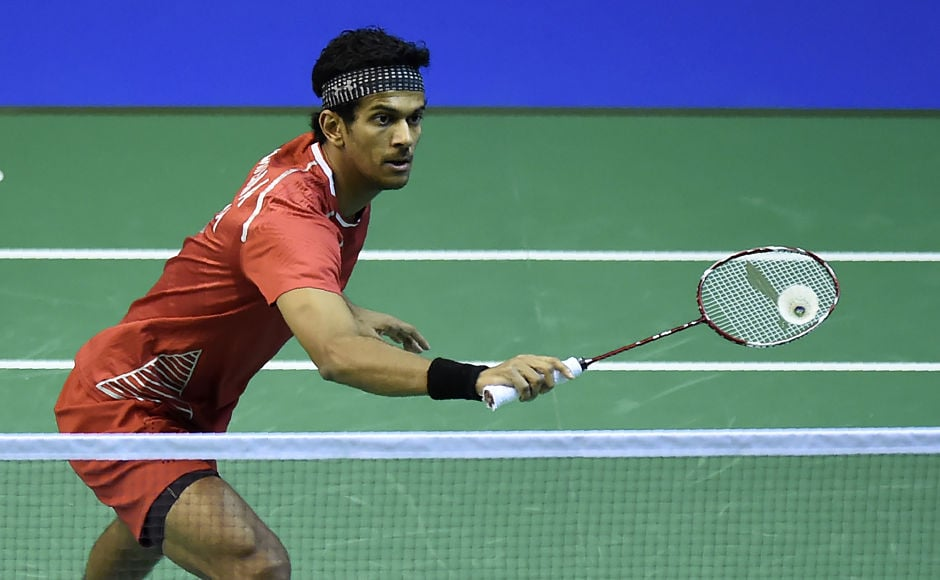 Ajay Jayaram returns to Netherlands Mark Caljouw during his win in the round two men's singles match. AFP