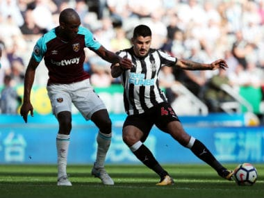 Aleksandar Mitrovic in action against West Ham United. Reuters