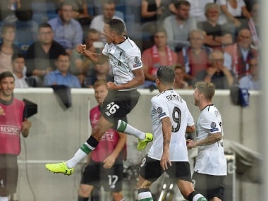 Trent Alexander-Arnold scored a stunning freekick to give Liverpool lead in Germany. Twitter/@trentaa98