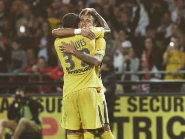 Dani Alves hugs Neymar after he scored his first goal for Paris-Saint Germain.  Image Courtesy: Instagram @danialves
