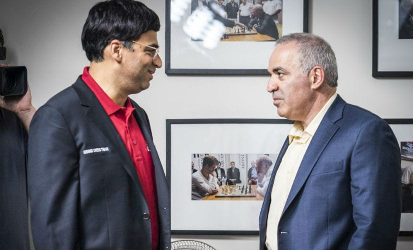 There was understandable camaraderie between the Anand and Kasparov when they met in round six of the St Louis rapid and blitz.