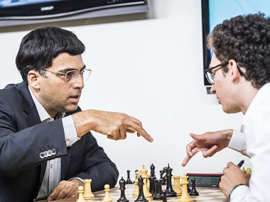 Viswanathan Anand in action against Fabiano Caruana
