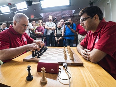 Viswanathan Anand and Garry Kasparov, clash of the champions. Lennart Ootes