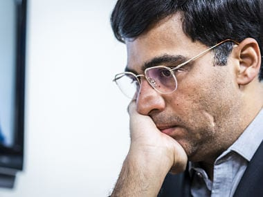 Viswanathan Anand in action during his game against Wesley So.