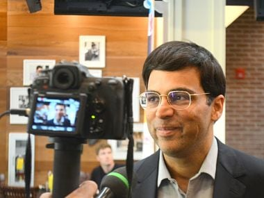 A delighted Viswanathan Anand after jumping into joint lead at the end of the 7th round. V.Saravanan