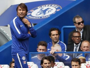 Chelsea's Antonio Conte cut a frustrated figure during Chelsea's 2-3 loss to Burnley in Premier League on Saturday. AP