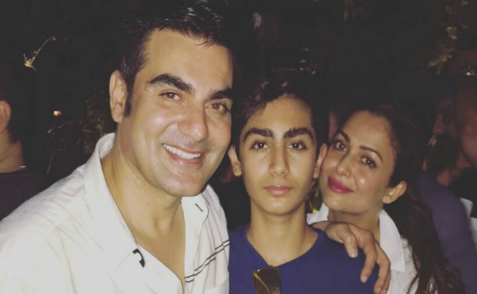 Arbaaz Khan along with his son, Arhan and Amrita Arora.