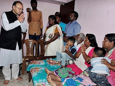 Arun Jaitley visited the family members of slain RSS worker Rajesh Edavakode who was brutally killed by a group of CPM supporters, in Thiruvananthapuram.PTI