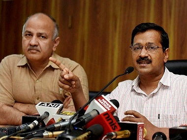 Delhi chief minister Arvind Kejriwal (right) with Deputy Chief Minister Manish Sisodia. PTI