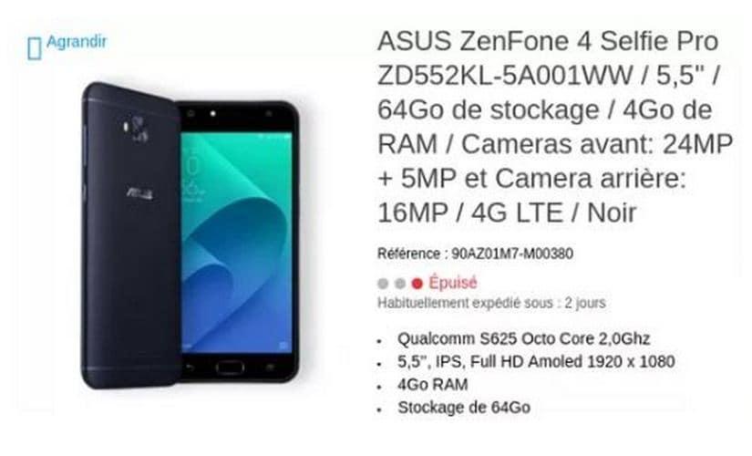 Asus ZenFone 4 Selfie Pro. Image: Asus