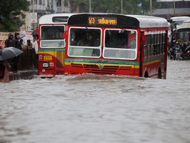 BEST buses running on flooded streets. PTI