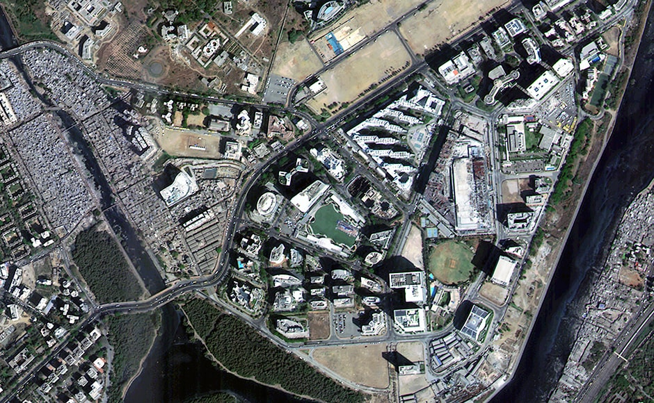 BKC in Mumbai and the Mithi river imaged by the CartoSat 2 series satellite. Image: ISRO