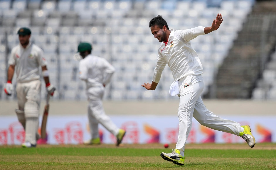Shakib Al Hasan kept picking wickets to peg Australia back. He bowled Glenn Maxwell of the first ball in the post Lunch session. AP