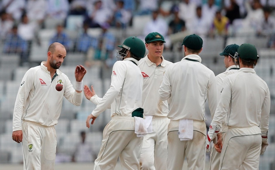 Australian spinner Nathan Lyon picked the the first wicket on Day 3 getting rid of nightwatchman Taijul Islam. AP