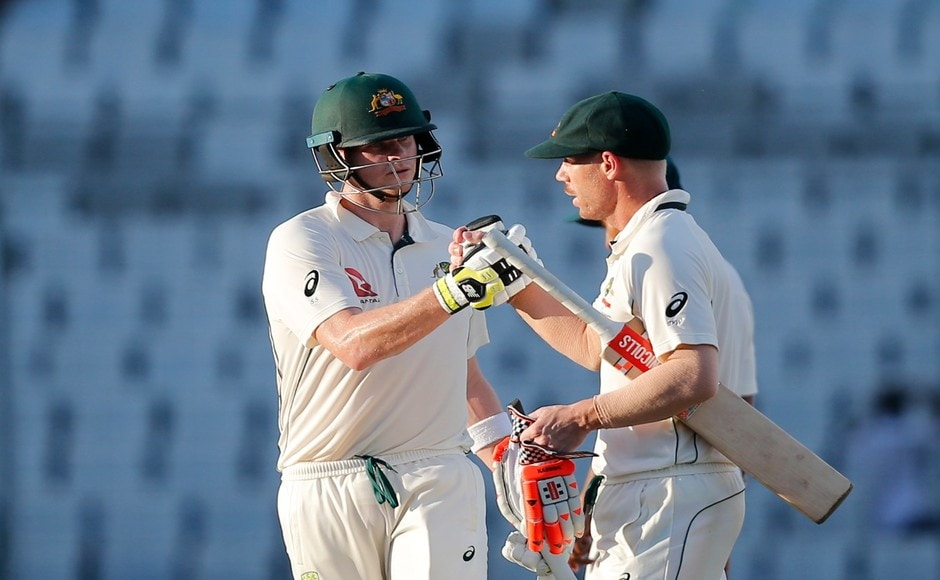 Warner and Smith ensured there was no further loss on Day 3 as they batted out more than 21 overs in the final session to take Australia to 109 for the fall of two wickets. The visitors need another 156 runs to win the 1st Test. AP