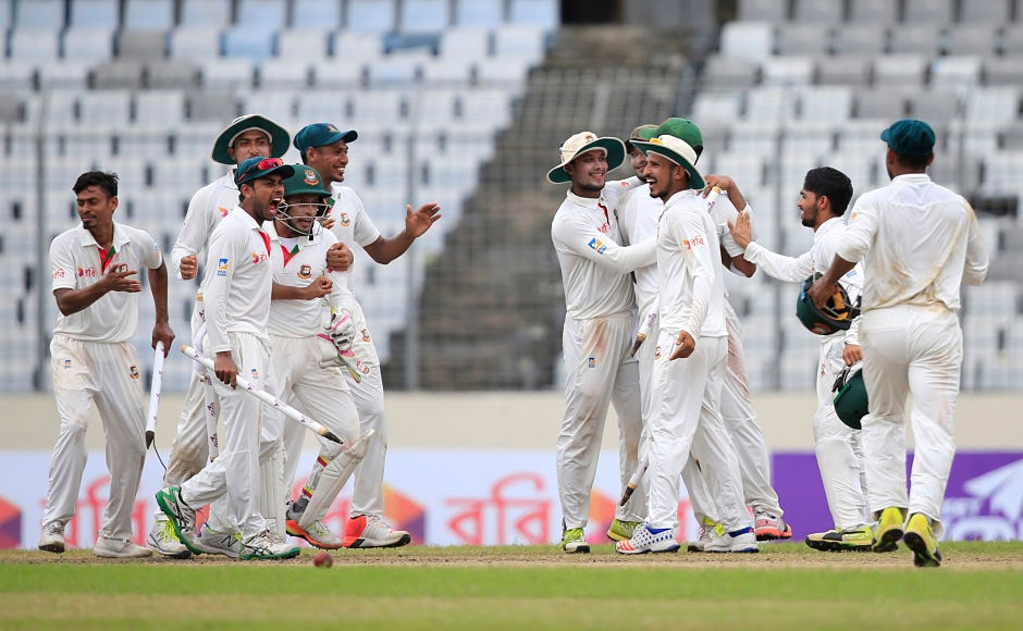 Bangladesh complete a memorablewin by defeating Australia for the first time in Test match cricket. AP