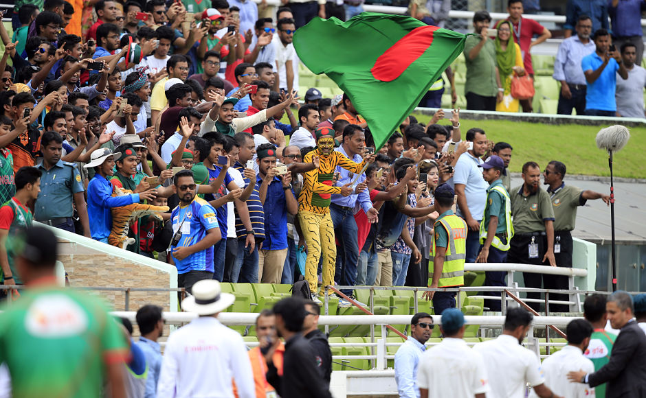 Bangladeshi supporters rejoiced the momentous occasion as hundreds thronged the stadium in Dhaka to witness their team create history. AP