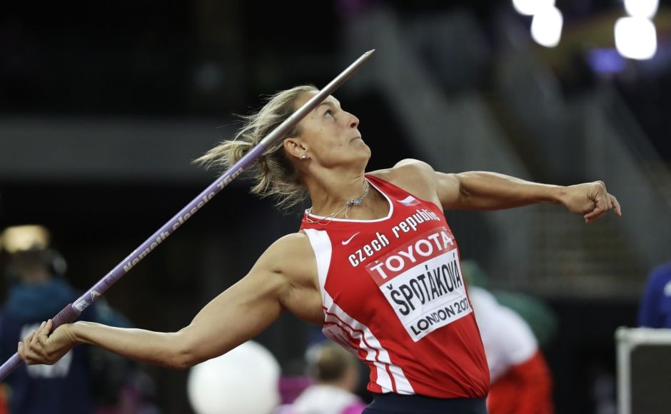 After a winning throw of 66.76 metres, two-time Olympic champion Barbora Spotakova of the Czech Republic won the gold medal in women's javelin a decade after her last world title. Spotakova won the gold at the 2012 London Games and then took a break from competition to become a mother. AP