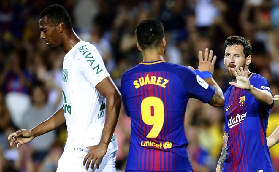 Luis Suarez and Denis Suarez scored in the second half to make it 5-0 for Barcelona. AP