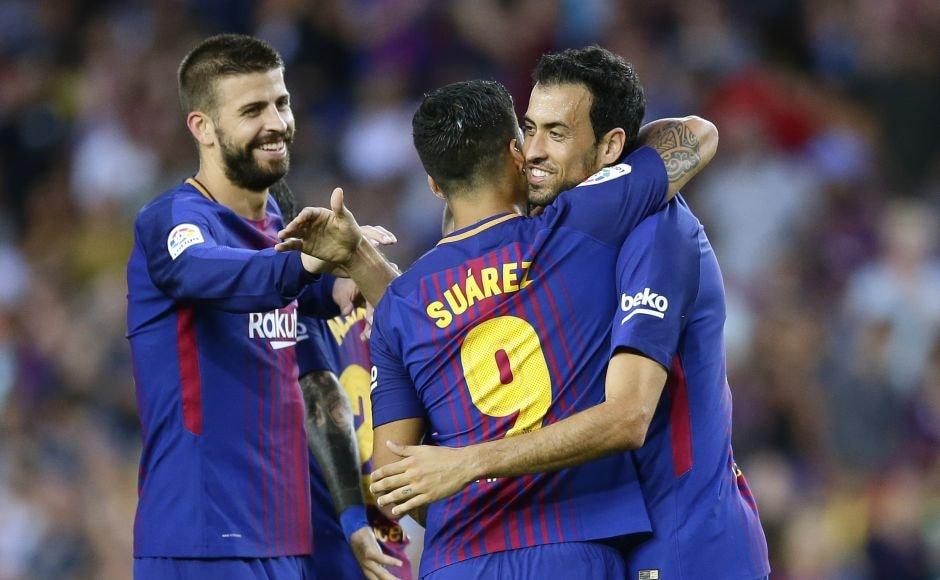 Sergio Busquets struck from long range for Barcelona's 2nd goal after Gerard Deulofeu, taking Neymar's vacant spot in the attack alongside Messi and Luis Suarez, got off to a good start by opening the scoring in the sixth minute. AP