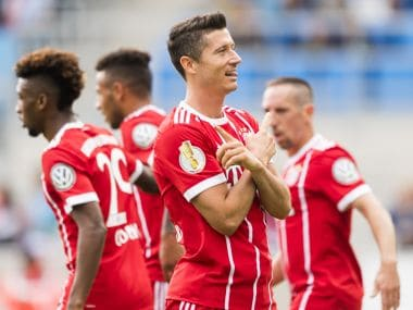Robert Lewandowski scored a brace as Bayern Munich advanced to second round of German Cup. AFP