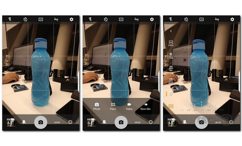 The interface on the BlackBerry KEYone camera