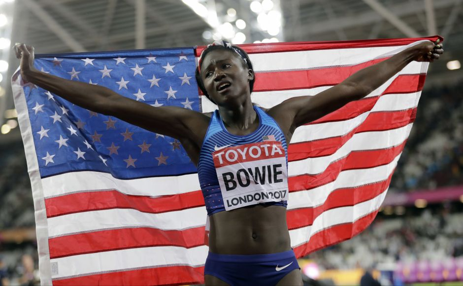 United States' Tori Bowie celebrates after winning the gold medal in the Women's 100m final during the World Athletics Championships in London Sunday. AP