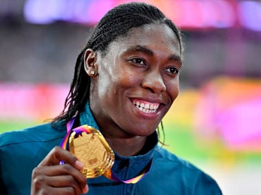 Women's 800 meters gold medalist South Africa's Caster Semenya poses for a photo on the podium during the medal ceremony at the World Athletics Championships in London Sunday, Aug. 13, 2017. (AP Photo/Martin Meissner)