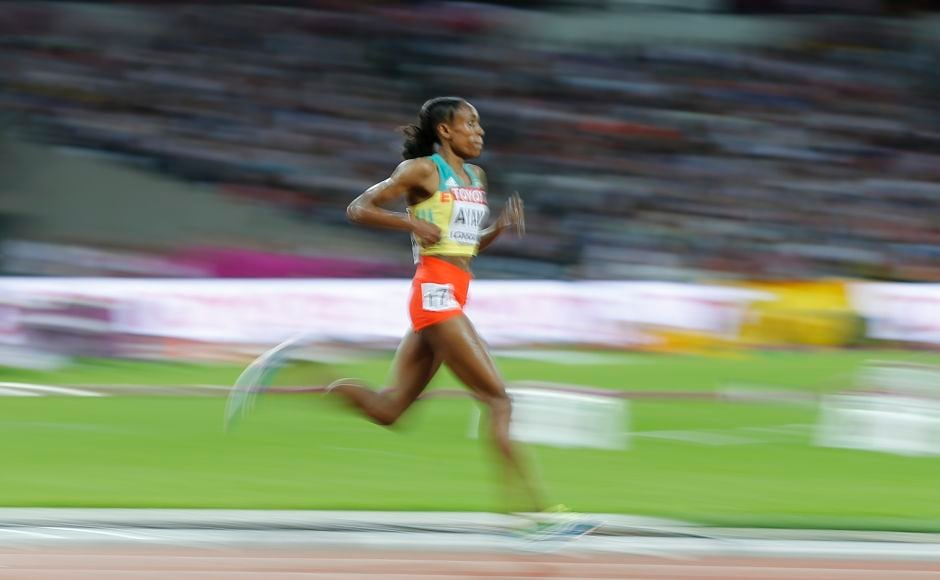 Ethiopia's Almaz Ayana leads the Women's 10,000m final during the World Athletics Championships. AP