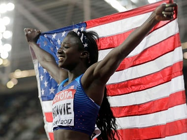 United States' Tori Bowie celebrates after winning the gold medal in the Women's 100m final during the World Athletics Championships in London Sunday, Aug. 6, 2017. (AP Photo/David J. Phillip)