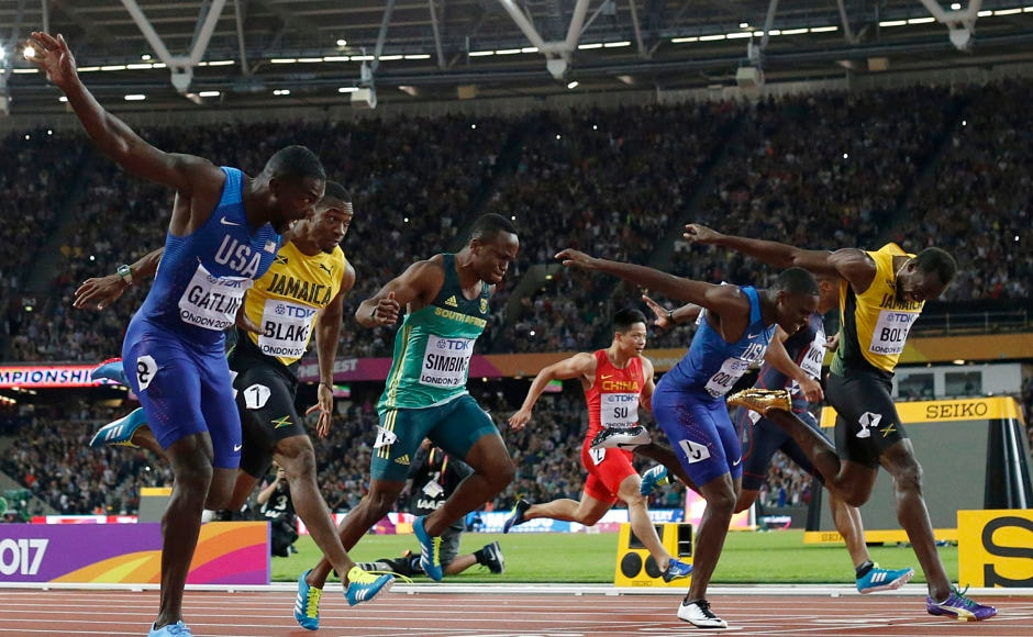 United States' Justin Gatlin crosses the line to win gold ahead of silver medal winner United States' Christian Coleman and bronze medal winner Jamaica's Usain Bolt in the men's 100m final. AP