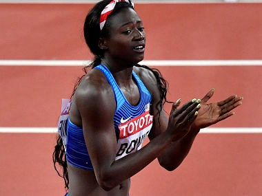 Tori Bowie celebrates after winning the women's 100 meters final at the World Athletics Championships in London. AP